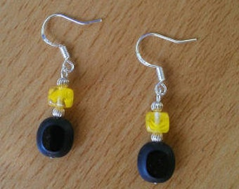 Sterling Silver Black and Yellow Beaded Earrings