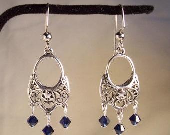 SILVER Chandelier Earrings, Crystal Chandelier Earrings, Indigo Earrings, Silver Earrings, Crystal Earrings, Blue Earrings, Blue Earrings