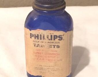 Vintage Bottle Phillips Milk of Magnesia Cobalt  Blue Empty Bottle Great Condition
