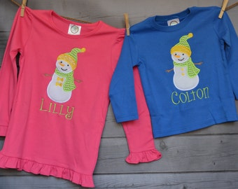 Personalized SnowMan Girl or Boy Applique Shirt or Onesie Boy or Girl