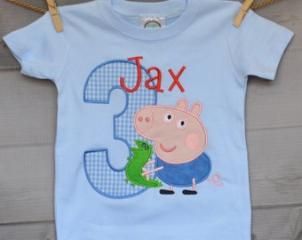 Personalized Pig with Toy Dragon Birthday Applique Shirt or Onesie Girl or Boy