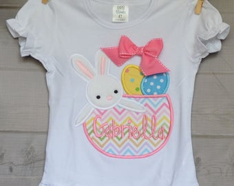 Personalized Easter Bunny Basket Eggs Applique Shirt or Onesie Girl or Boy