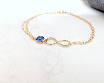 sapphire bracelet infinity bracelet birthstone bracelet 14k gold filled personalized bracelet swarovski birthstone bracelet infinity jewelry