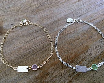 Personalized Birthstone Bracelet engraved love tag 925 sterling silver monogram jewelry hand stamped letter beach wedding heart birthstone