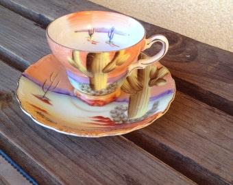 Cactus Tea Cup, Cactus Cup, Cacti Cup, Cacti Teacup, Cacti mini cup, Arizona Cactus Cup, Saguaro Cup, Norcrest Cup, Arizona Saguaro Tea Cup