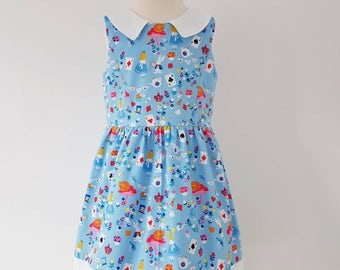 Alice in wonderland dress, alice dress, girls blue outfit, kids clothing, party wear, uk