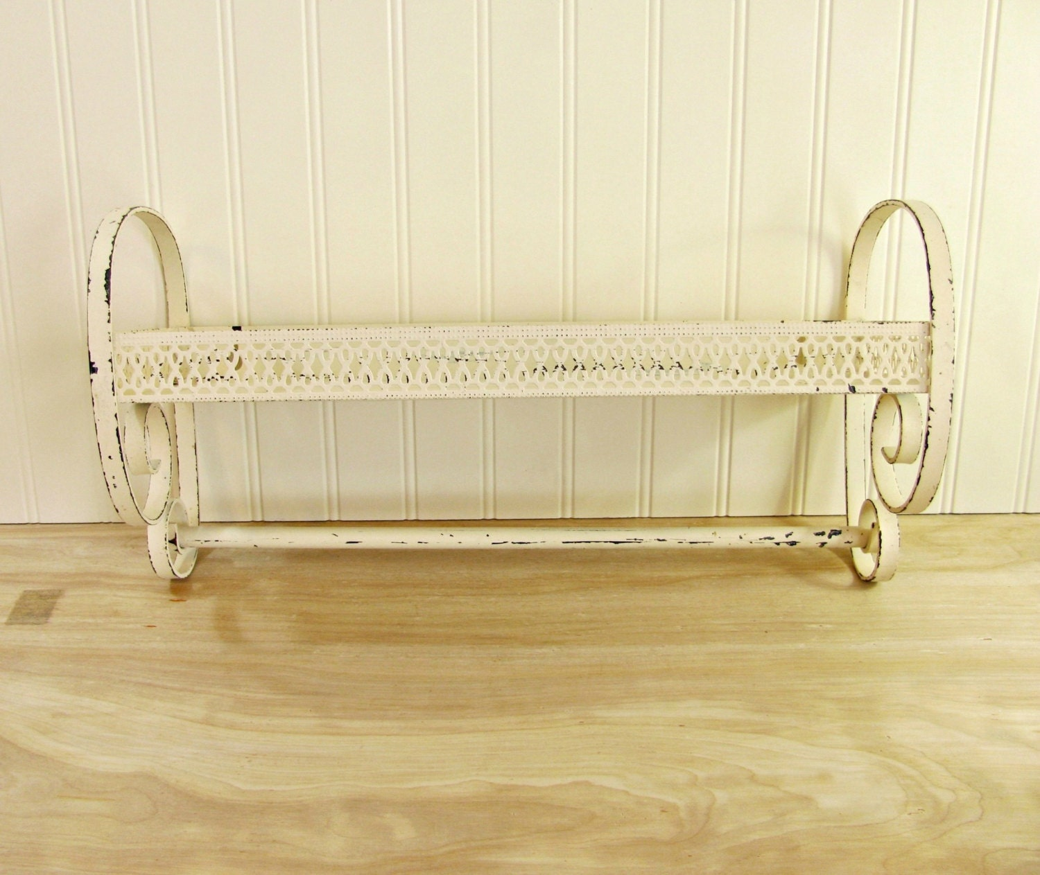 Mid Century White Metal Bathroom Shelf With Towel Bar Mid