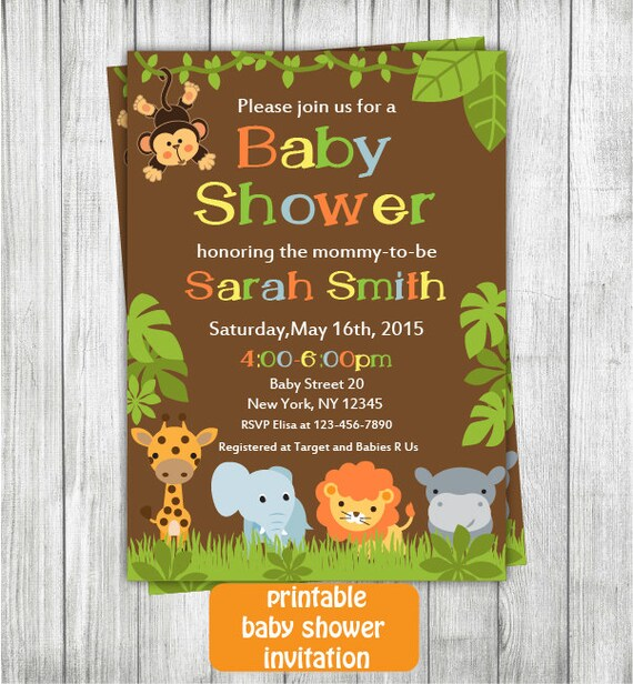 Safari Baby Shower Invitation: Printable Jungle Safari Baby Shower Invitation Safari Baby