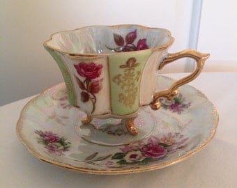 "Elegant ""Pearl-Gloss"" Teacup and Saucer"