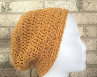 Ready To Ship Slouchy Hat Slouchy Beanie Mustard Crochet Hat Beanie Women's Crochet Hat Winter Accessories Gifts For Her