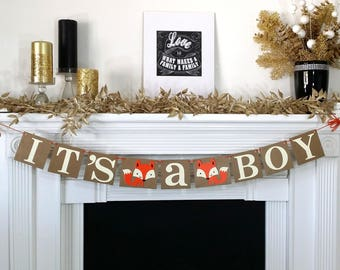 Its A Boy Rustic Banner / Fox Themed / Baby Shower Decoration / Baby Announcements / Gender Reveal Banner / New Baby / Orange Cream & Brown
