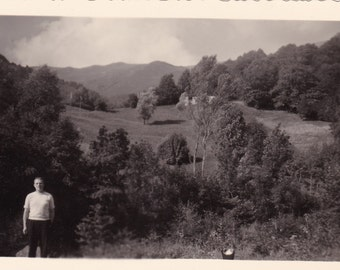 Vintage Snapshot Photo - Beautiful Rolling Hills, Clouds, Scenery - Little Man In Foreground