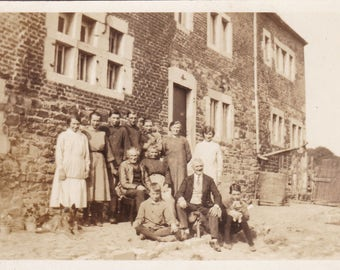 Antique c1925 Photograph - Family Posing Outside House - Children - Dogs