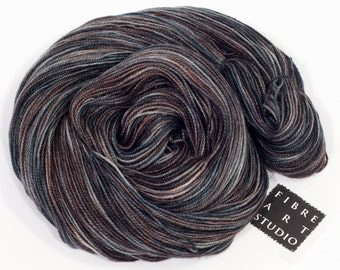 Hand Dyed Sparkle Sock Yarn | Variegated Hand Dyed Yarn in Black, Gray and Brown with Silver Glitter | SW Merino, Nylon, Stellina