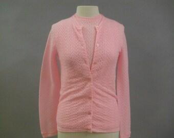 Vintage Pink 1960's sweater set, L