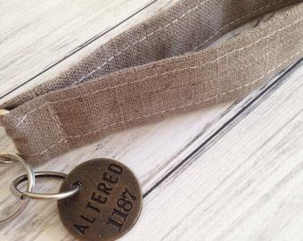 SUMMER SALE Linen Key Fob, Natural Linen Key Fob, Rustic Key Fob, Natural Key Ring, Linen Keychains, Linen Wristlet, Key Ring, Keychains