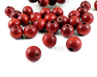25 Wood Beads 12mm, Red Wooden Beads, Round for Macrame Bracelet & Jewelry Making