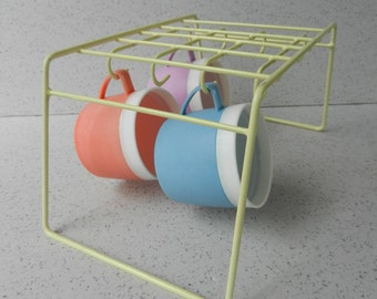 vintage yellow kitchen cupboard rack cup and dish rack coated wire shelf organizer