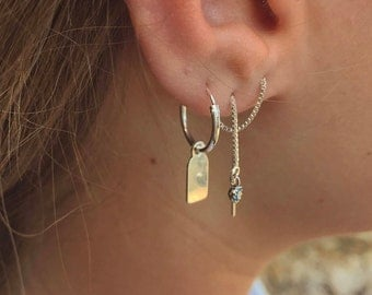 Silver tag hoop earring with initial - Sterling Silver hoop earrings - Personalized Earring