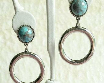 Remarkable, Turquoise & Silver, Loop Earrings