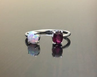 14K White Gold Ruby Opal Engagement Ring - 14K Gold Opal Ruby Wedding Ring - 14K Gold Opal Ruby Ring - Ruby Opal Ring - Gold Ruby Opal Ring