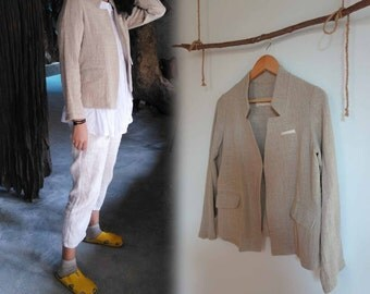 719---Textured Linen Jacket, Rustic Flax Linen Blazer,  Made to Order.