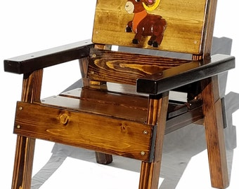 Kids Painted Furniture Whimsical Aries the Ram, 1st Birthday Gift Girl or Boy, Toddler+ Gift, Engraved First Birthday Reclaimed Wood Chair
