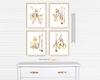 Baby Girl boho Nursery Wall Art, Girl Nursery PRINTABLE GOLD Decor, Pink Woodland Nursery, Pink and Gold Nursery Art, Printable Arrow Decor