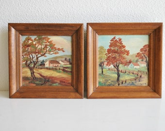 Set of 2 Vintage Framed Helen De Tar Oil Paintings Farmhouse Country Scenes Cottage Mid Century Detar Wall Hanging Decor