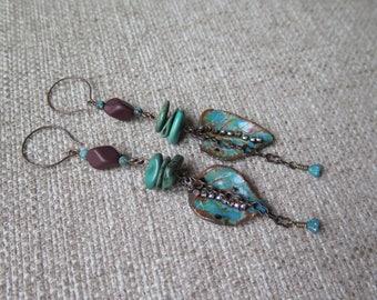 turquoise and brown earrings, boho earrings, summer festival earrings, long earrings, unique earrings, rustic earring, southwestern earrings