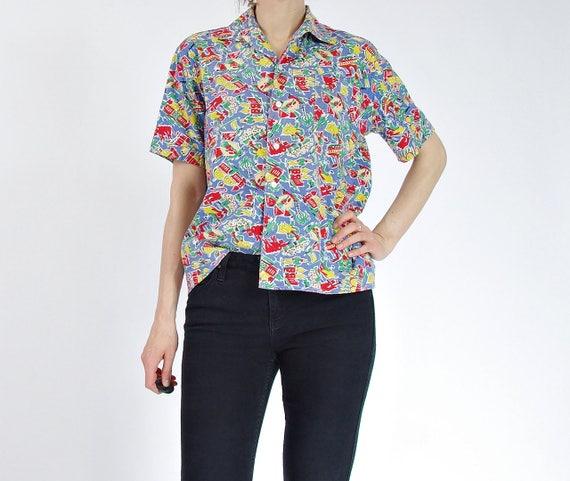 SALE 40% OFF - 50s Spanish Corrida Printed Short Sleeve Cotton Boxy Shirt / Men size S / Women size M