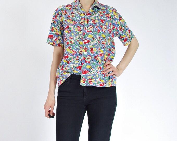 Featured listing image: 50s Spanish Corrida Printed Short Sleeve Cotton Boxy Shirt / Men size S / Women size M