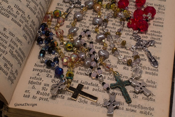 Rosary Prayer Swarovski Crystals,Sweet Water Pearls and Beads by GunaDesign