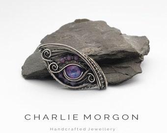Dragon Eye Necklace - Galaxy Necklace, Silver Eye Necklace, Dragon Jewelry, Dragon Cosplay, Space Necklace, Purple Pendant, Amulet Necklace.