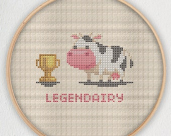 Legendairy Cow Cross Stitch Pattern - Instant Download PDF