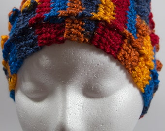 Bright multi-coloured crochet ear warmer headband