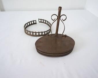 Lot of 2 Odd Metal Brass Vintage Lamp Part Salvage