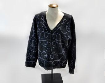 Deane & White Wool Cardigan Sweater Vintage Clothing Gray Lavender XL