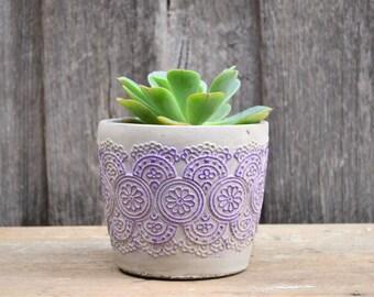 Violet Lace Round Concrete Pot or Planter