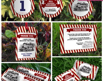 Train Invitation & Party Decorations - INSTANT DOWNLOAD - Train Party Package - Vintage Train Birthday - EDIT and print using Adobe Reader