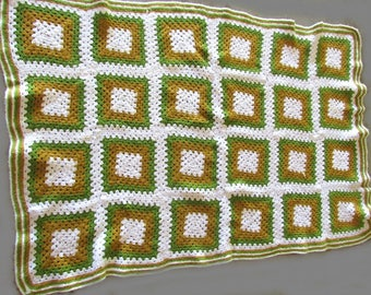 Vintage Afghan Throw Rocking Chair Cover Hand Crocheted Olive Green Mocha and White 60in x 42in