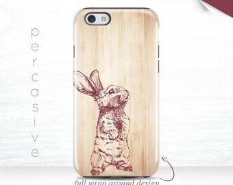 iPhone 7 Plus Case Cute Bunny iPhone 6s Tough Case Light Wood iPhone 6 Plus Cover Nature iPhone 5s Case Rabbit iPhone 7 3D Case 14a
