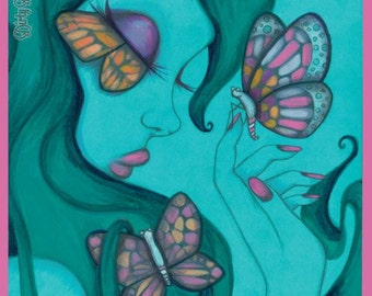 Butterfly Kisses 8″x10″ Art Print by Dirty Teacup Designs