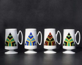 Mod Pedestal Mugs, Set of 4, 1960 - 70's, Retro Footed Coffee, Tea, Latte Cups, Bold Geometric Designs, Mid Century White Ceramic Porcelain