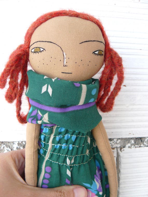 Art doll with alpaca and silk hair. 32 cm. Redhead doll.