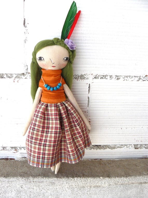 Katrin Rag doll on cotton canvas. Pure wool hair. Hand embroidered