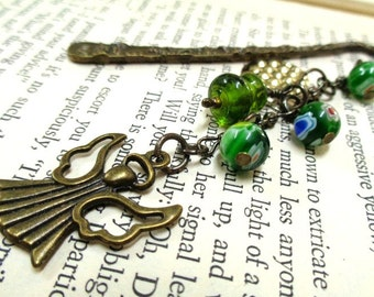 Bronze Angel Bookmark, Green Bookmark, Beaded Bookmark, Booklovers Gift, Student Gift, Teachers Gift, Readers,Angels,Girls Gift,Gift for Her