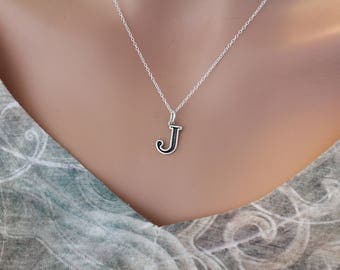 Sterling Silver Uppercase J Initial Charm Necklace, Oxidized Sterling Silver Uppercase J Letter Necklace, Uppercase J Necklace, Uppercase J