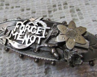 Antique Victorian silver Forget Me Not mourning brooch  marked A C C estate find FREE shipping USA only