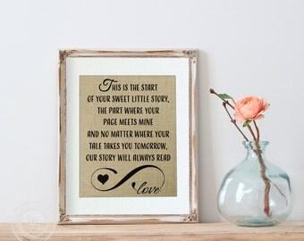 Adoption Nursery Print on Burlap, Adoption Gift, 8x10 Adoption Art, Gift for Adoptee, Adoption Story, StepChildren, Foster Child, Love Story